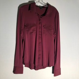 WHBM Maroon Button Down Blouse I2